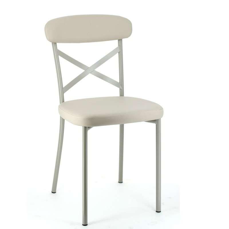 Chaise de cuisine en synth tique et m tal calia 4 for Table 4 chaises cuisine