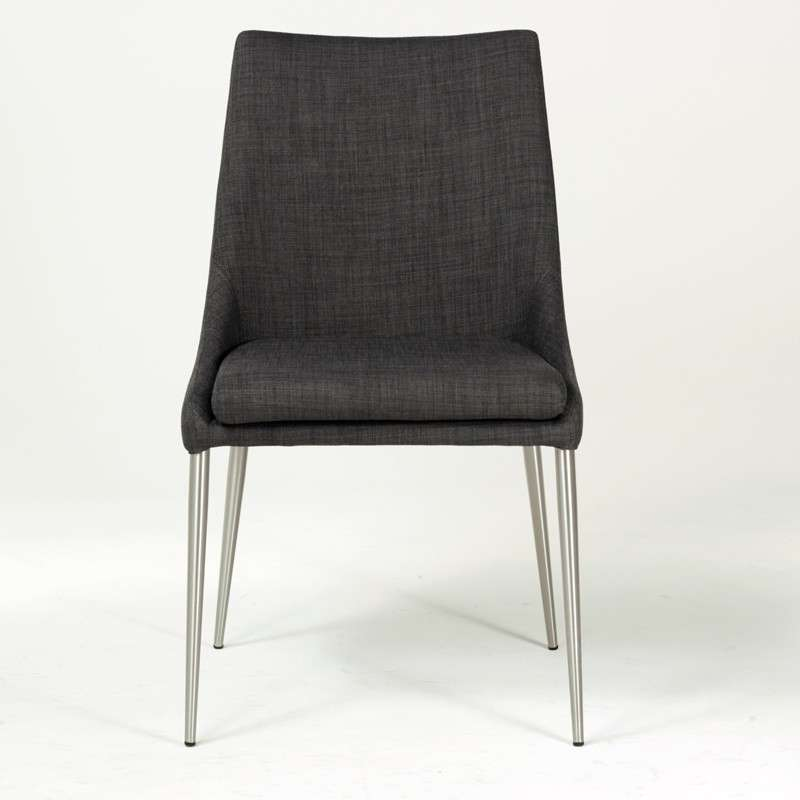 Chaise Moderne En Tissu Dehoussable Avec Pieds En Metal Inox Debby