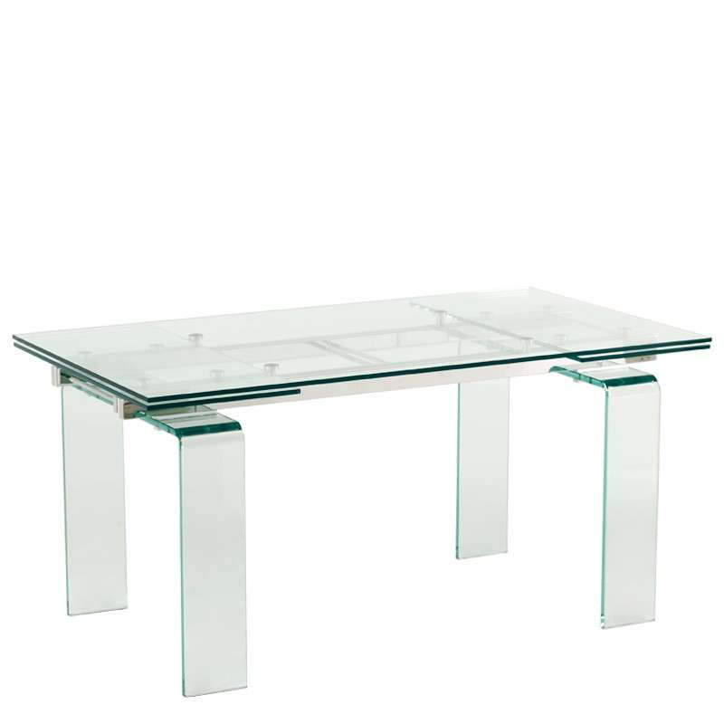 Table design rectangulaire extensible en verre tania 4 for Table de sejour extensible