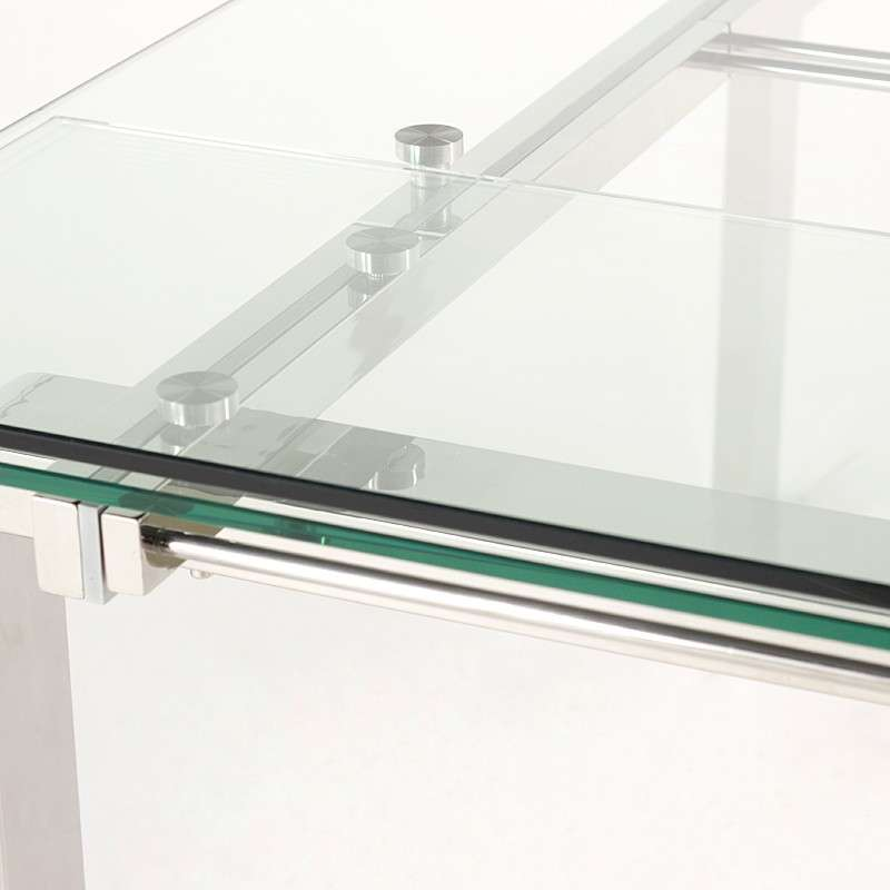 Table design en verre extensible tanina 4 pieds tables for Table a rallonge en verre