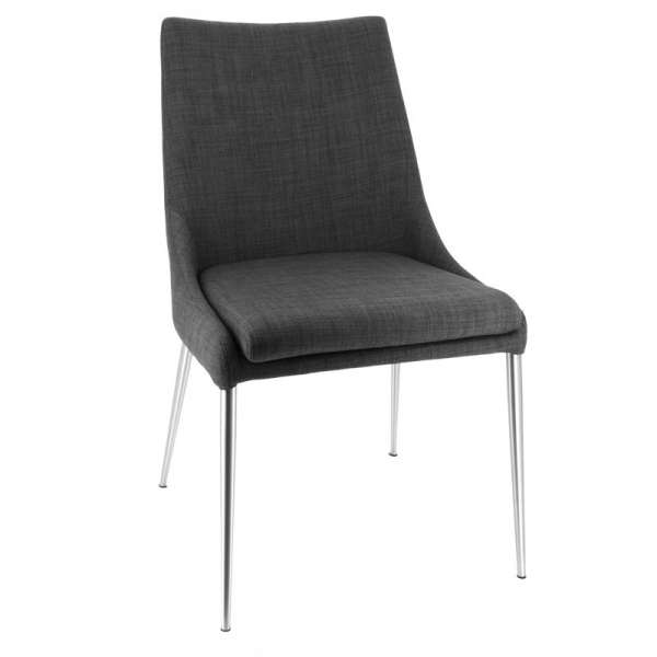 Chaise moderne en tissu déhoussable avec pieds en métal inox - Debby