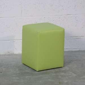 Pouf carré en vinyle vert – Quadra