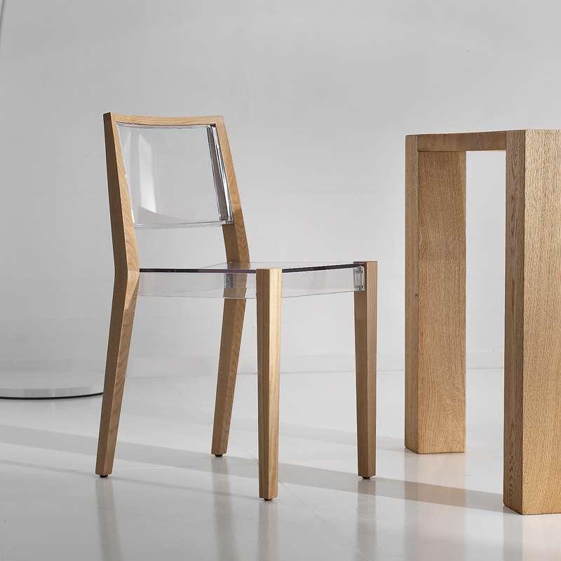 chaise design en plexi et bois together 4 pieds tables chaises et tabourets. Black Bedroom Furniture Sets. Home Design Ideas
