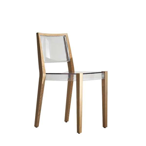 chaise design transparente avec structure en bois massif together - Chaise Transparente Pied Bois