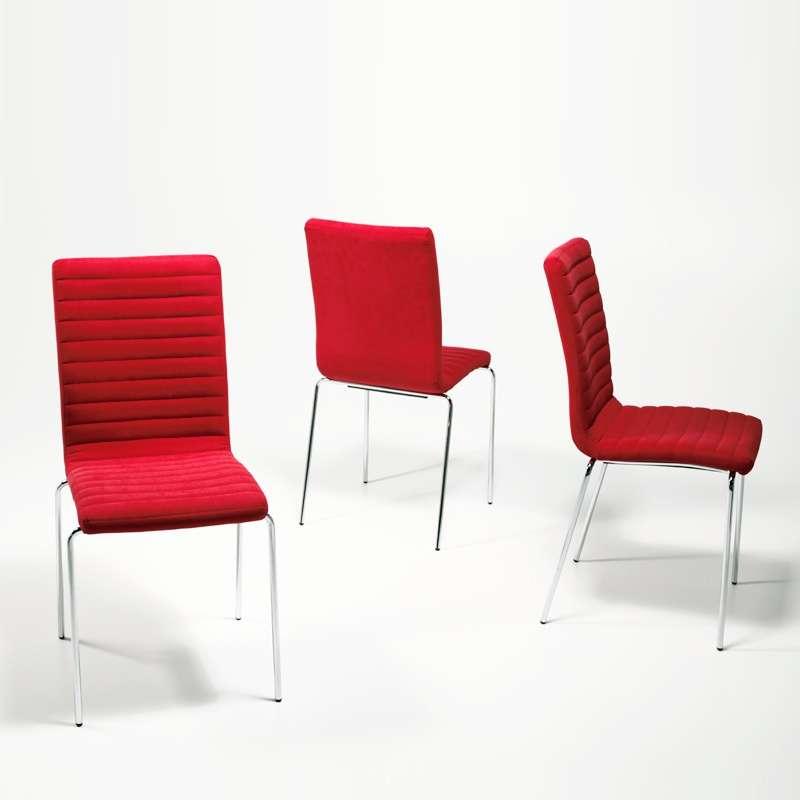 chaise moderne empilable en tissu et m tal krono midj 4. Black Bedroom Furniture Sets. Home Design Ideas