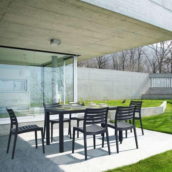 Table de terrasse rectangulaire en résine gris foncée - Ares - 2