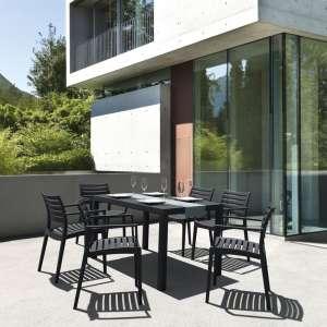 Table de terrasse rectangulaire en résine noire - Ares