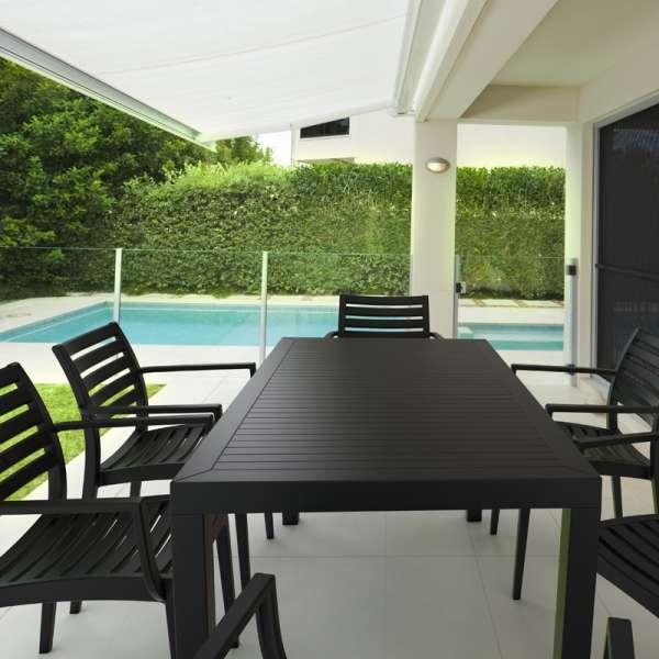 Table de terrasse rectangulaire en résine marron - Ares - 3