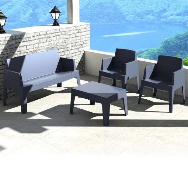 Salon de jardin en polypropyl ne box jardin 2 4 pieds tables chaises e - Salon de jardin en polypropylene ...