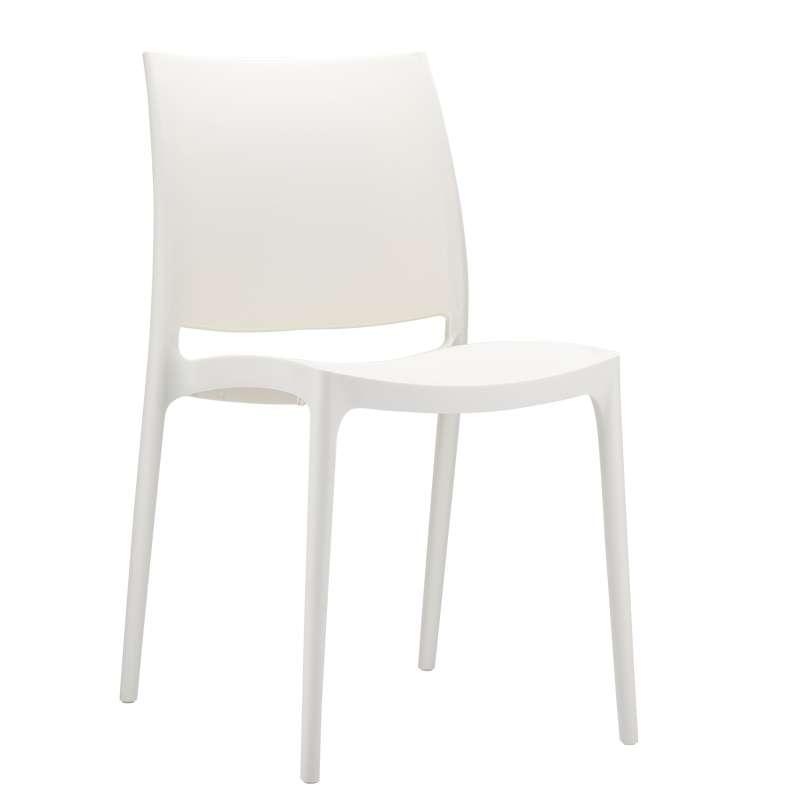 Chaise en plastique polypropyl ne maya 4 pieds - La chaise blanche ...