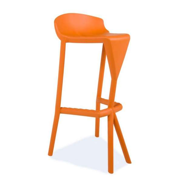 Tabouret design orange en plastique - Shiver - 12