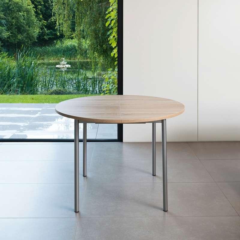 table de cuisine ronde en stratifi avec rallonge basic. Black Bedroom Furniture Sets. Home Design Ideas