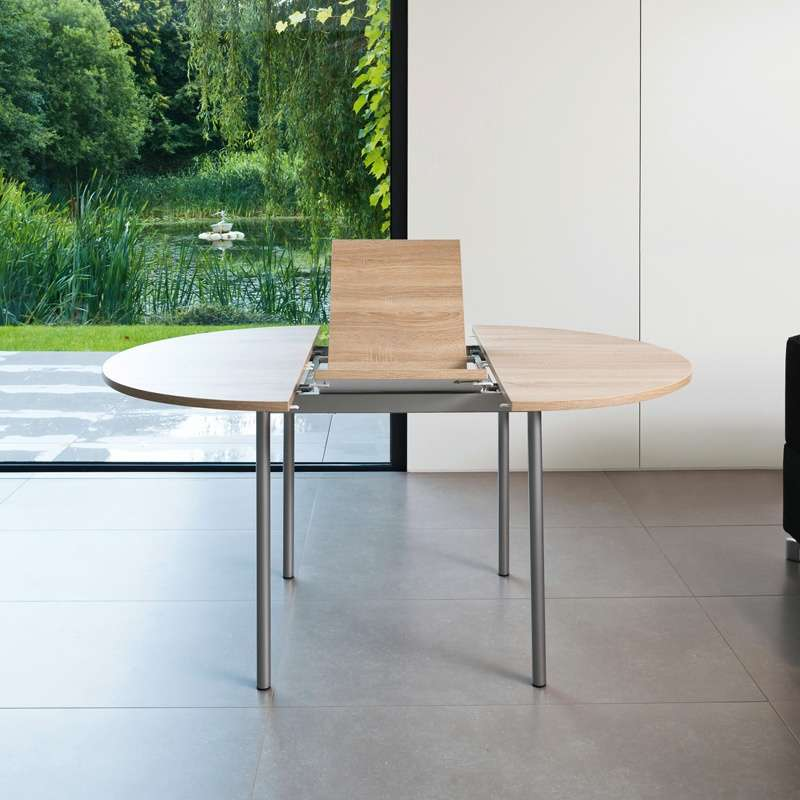 Table de cuisine ronde en stratifi avec rallonge basic Table ronde de cuisine avec rallonge