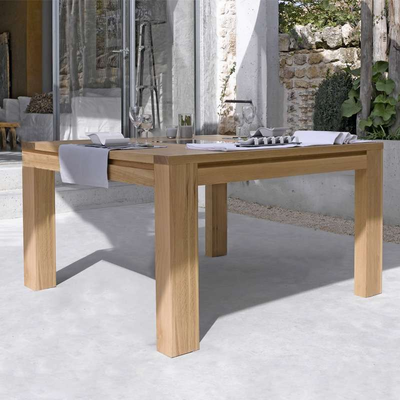 Table de salle manger en ch ne massif conception g 4 for Table rectangulaire bois avec allonges