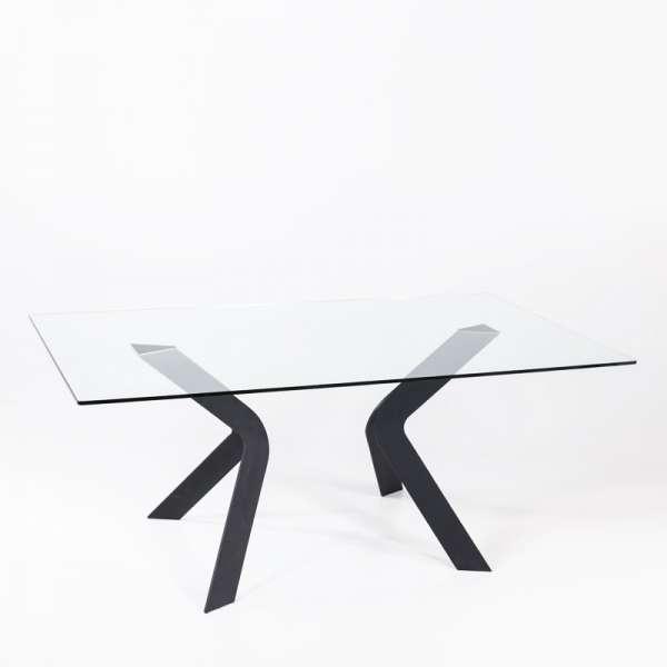 Table en verre design avec pieds en métal noir - Trendy
