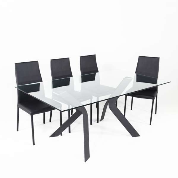 Table design en verre rectangulaire Trendy 100 cm x 180 cm - 4
