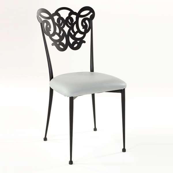 Chaise provençale en métal assise synthétique rembourrée - Milos