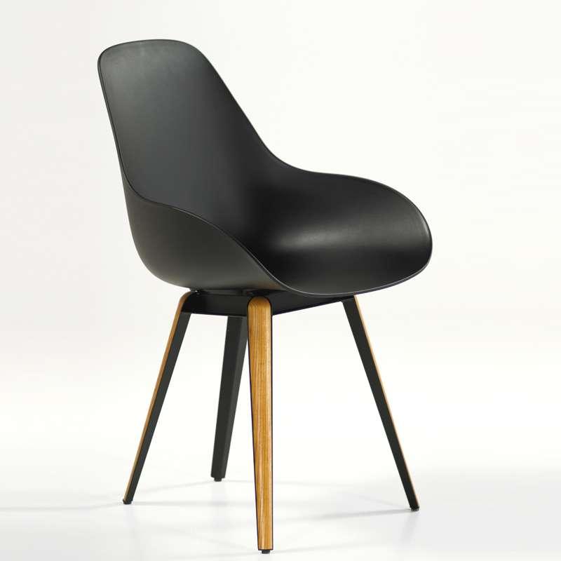 Chaise design scandinave en polypropyl ne m tal et bois for Chaise 4 pieds design