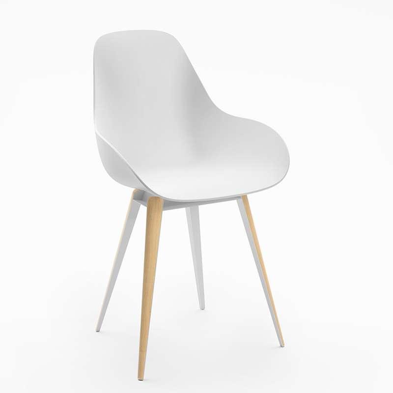 Chaise design scandinave en polypropylène métal et bois - Slice ...