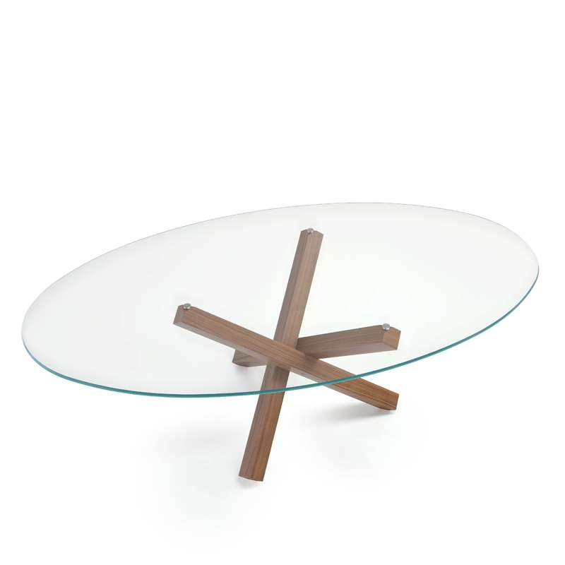 Table de salle manger ovale design en verre aikido for Table ovale verre extensible