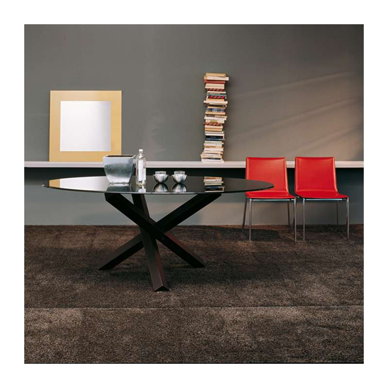 table de salle manger ovale design en verre aikido. Black Bedroom Furniture Sets. Home Design Ideas