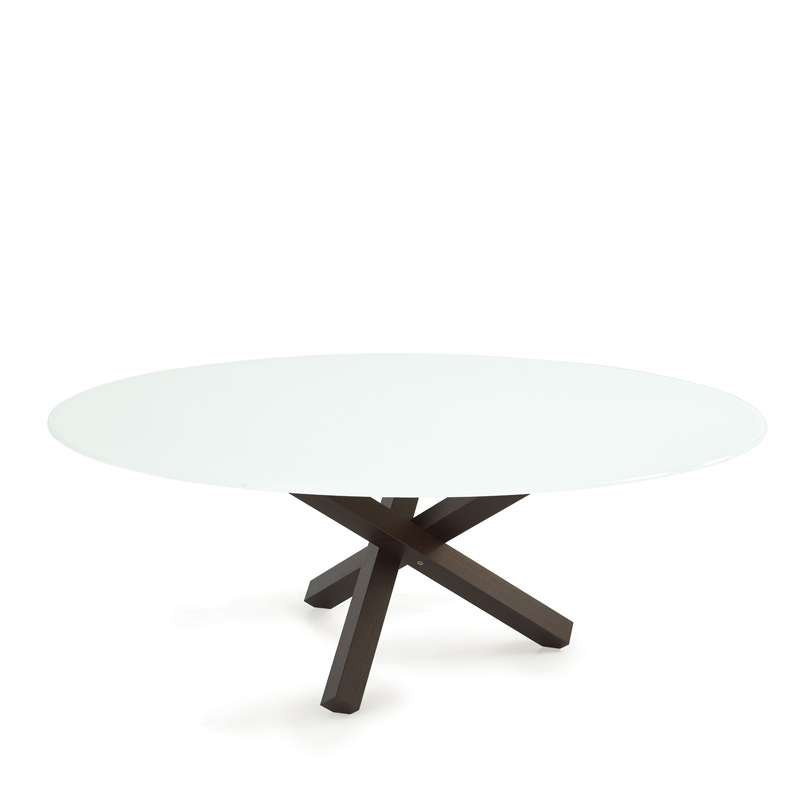 Table de salle manger ovale design en verre aikido for Pied de table de salle a manger design