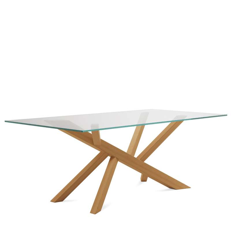 Table design en verre et pieds bois tree domitalia 4 for Table basse bois et verre design