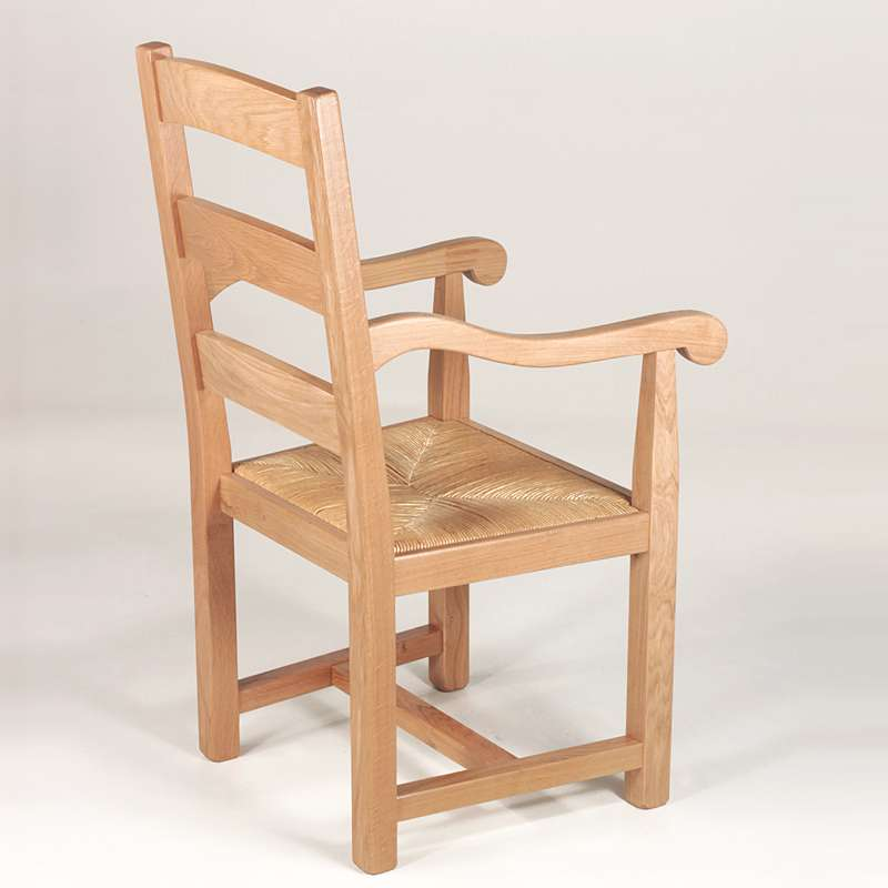 Fauteuil En Chêne Rustique Et Paille Réf Pieds Tables - Fauteuil rustique