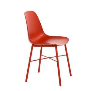 Chaise moderne en polypropylène rouge et métal rouge - Cloe