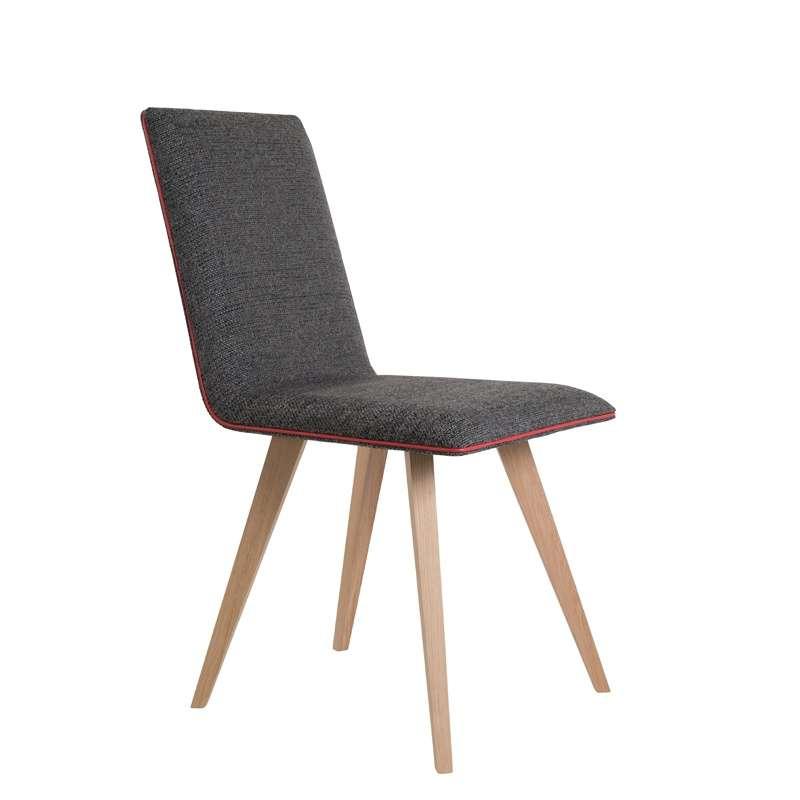 Chaise moderne en bois et tissu enoa 4 pieds tables for Chaise avec pied bois