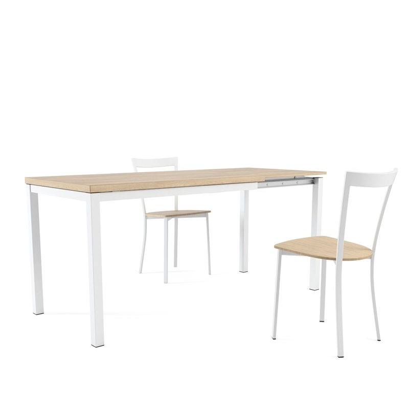Table de cuisine en m lamin avec rallonge hauteur 75 cm - Table de cuisine a rallonge ...