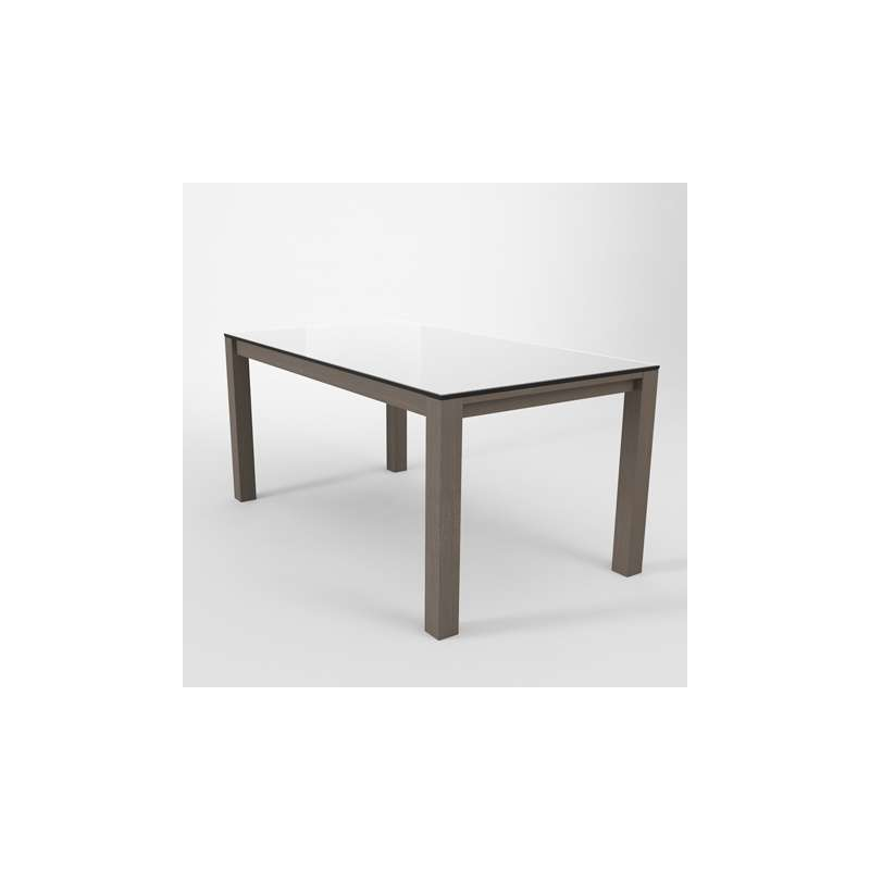 Table moderne en verre extensible quadra 4 pieds for Table titanium quadra 6 personnes