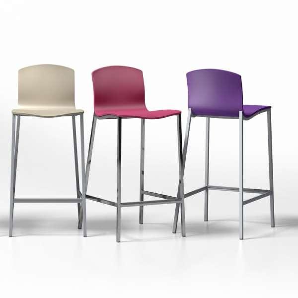 Tabouret snack en m tal et bois laqu hauteur 65 cm seven 4 pieds tables chaises et - Tabouret metal 65 cm ...