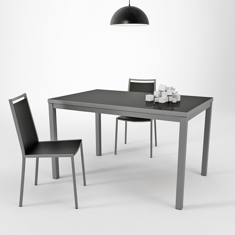 table de cuisine en verre avec rallonge hauteur 75 cm toy m tal 4 pieds tables chaises. Black Bedroom Furniture Sets. Home Design Ideas