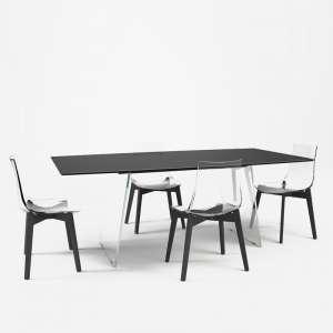 Table design en verre - forme elliptique - Domo