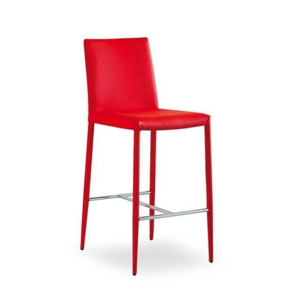 Tabouret contemporain en cuir rouge - Beo - 5