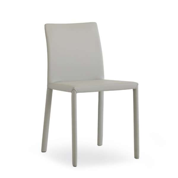 Chaise en croûte de cuir grise - Kiris - 3