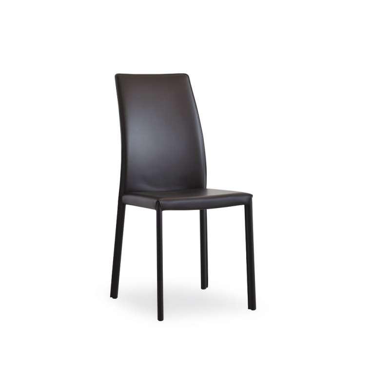 Chaise de salle manger en cro te de cuir ou synderme - Chaise salle a manger cuir noir ...