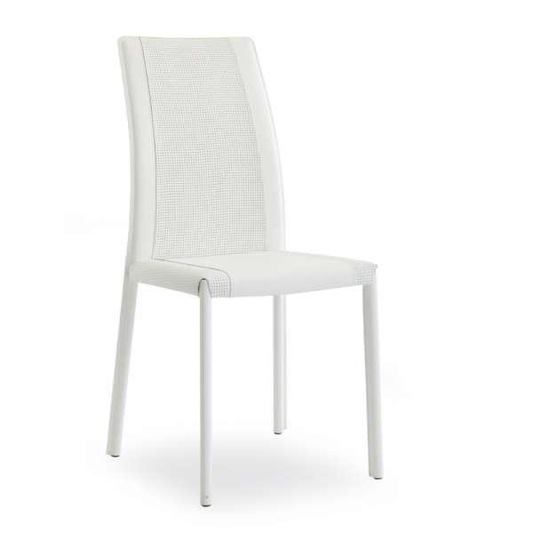 Chaise en croûte de cuir coloris blanc - Giada - 8