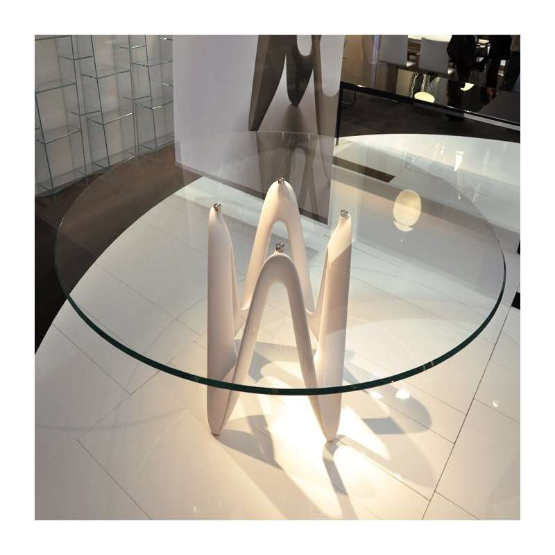 Table ronde design en verre lambda sovet 4 pieds - Table design ronde ...