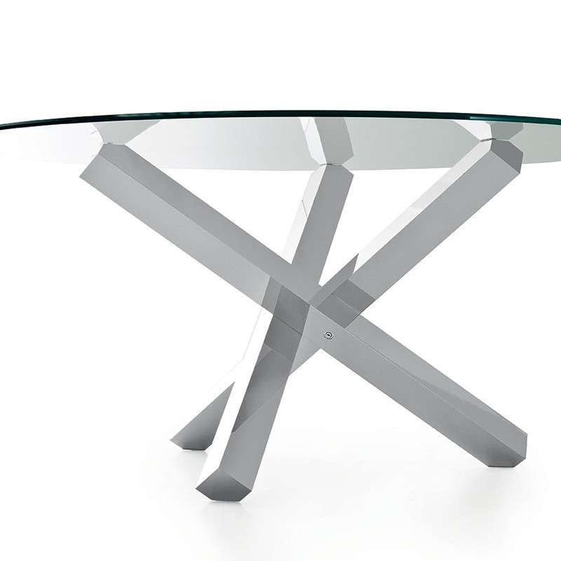 table en verre design ronde aikido sovet 4 pieds. Black Bedroom Furniture Sets. Home Design Ideas