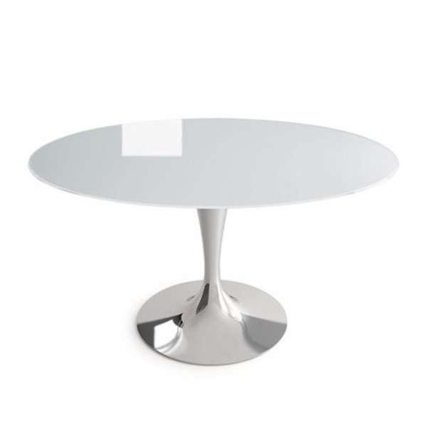 Table ronde design en verre blanc -  Flute Sovet® 6 - 5