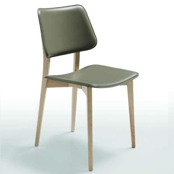 Chaise vintage en croûte de cuir et bois - Joe Midj®