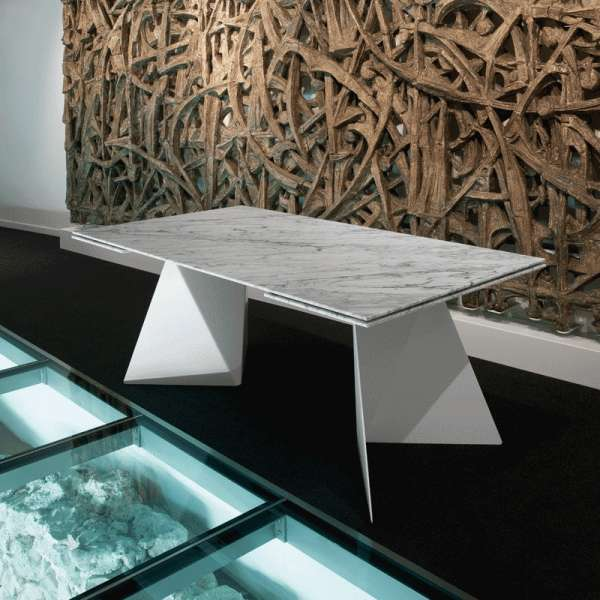 Table design extensible en marbre blanc - Euclide - 2