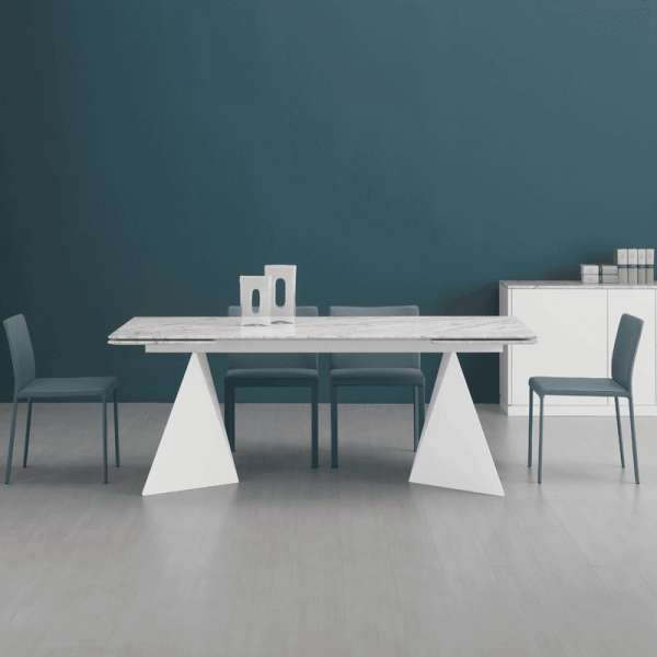 Table design extensible en marbre blanc - Euclide A