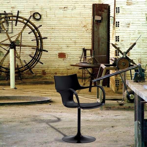 fauteuil design pivotant avec accoudoirs en métal et polypropylène  - Flûte Sovet® 1 - 2