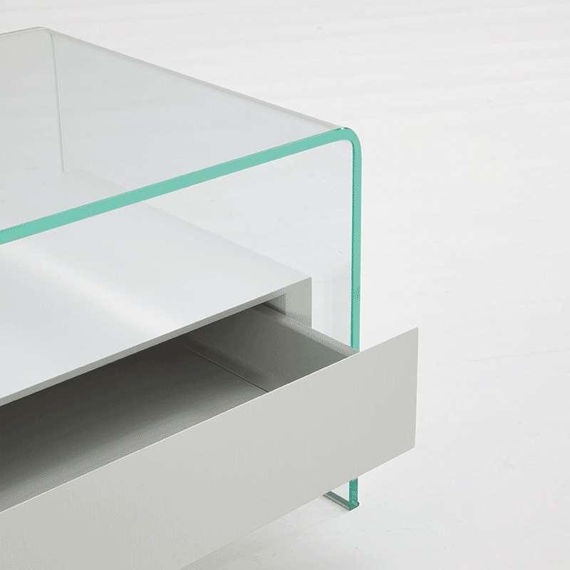 table basse en verre avec tiroir en bois bridge sovet. Black Bedroom Furniture Sets. Home Design Ideas