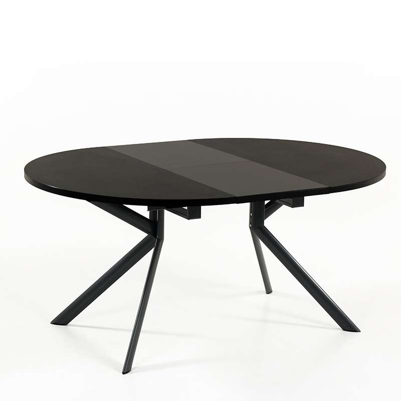 Finest table ronde en cramique noire extensible giove with for Table ronde extensible