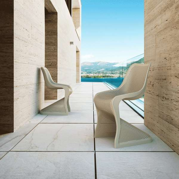 Chaise design en polypropylène beige ajouré - Bloom - 3
