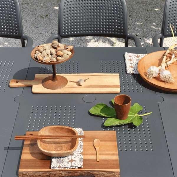 Table de jardin avec allonge en plastique anthracite - Levante - 7